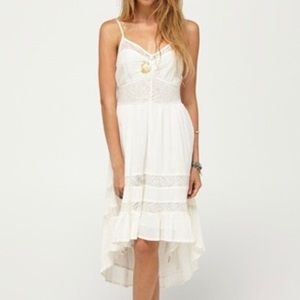 ROXY High Low Gauze Style Cream Lace Dress
